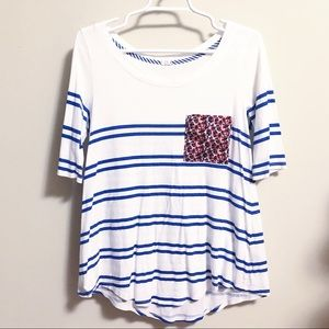 Anthropologie T.LA Striped Shirt w/ Flower Pocket